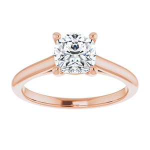 Four Claw Cushion Solitaire Engagement Ring