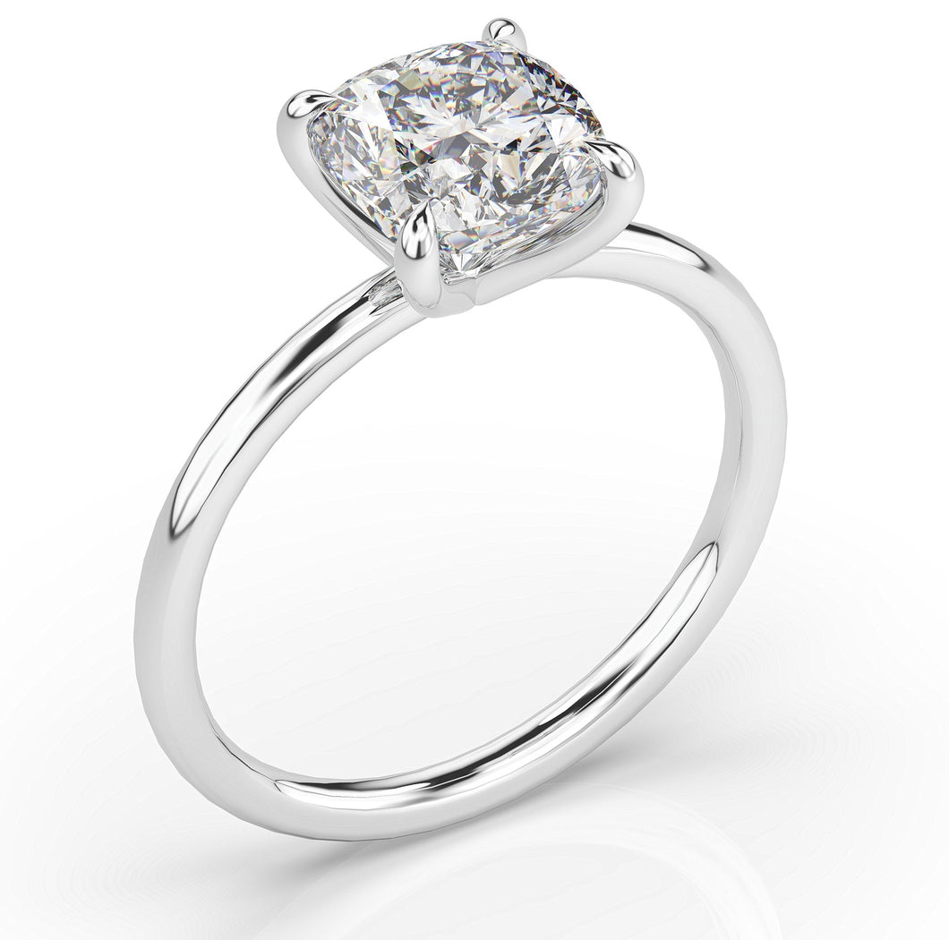 Cushion Thin Band Solitaire Engagement Ring
