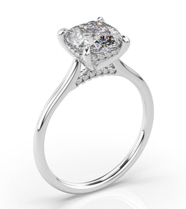 Cushion Hidden Halo Thin Band Engagement Ring