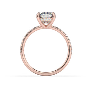 Cushion Hidden Halo Engagement Ring