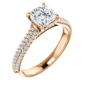 Cushion Pave Style Engagement Ring - I Heart Moissanites