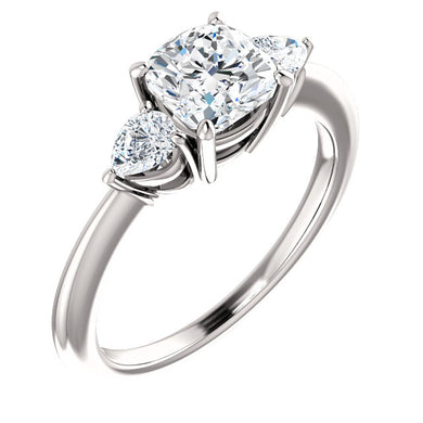 Cushion Tri -Stone Style Pear Accent Engagement Ring - I Heart Moissanites