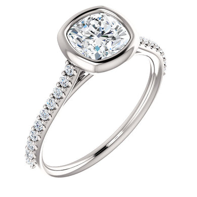 Cushion Bezel Style Engagement Ring - I Heart Moissanites