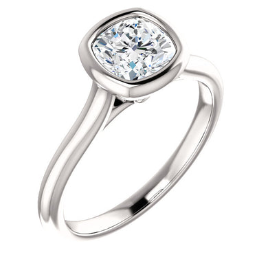 Solitaire Cushion Cut Bezel Engagement Ring - I Heart Moissanites