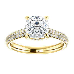 Cushion Hidden Halo Pave Style Engagement Ring - I Heart Moissanites