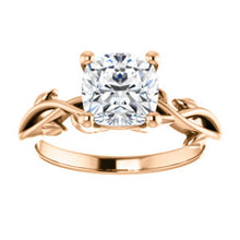 Cushion Solitaire Leaf Design Engagement Ring - I Heart Moissanites