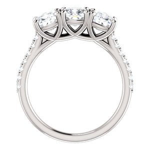 Cushion Tri -Stone Style Engagement Ring - I Heart Moissanites