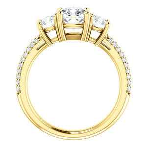 Cushion Tri -Stone Accent Engagement Ring - I Heart Moissanites