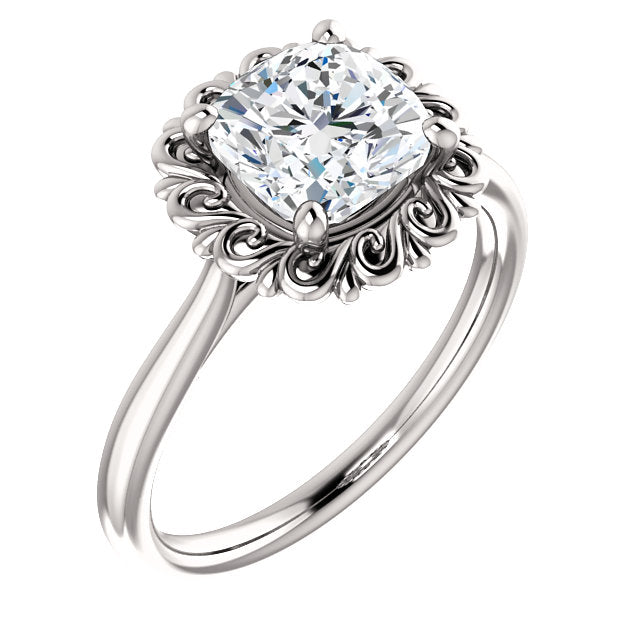 Cushion Solitaire Antique Inspired Design Engagement Ring