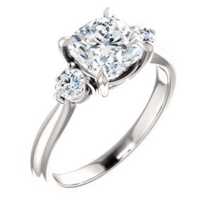 Cushion Accent Engagement Ring - I Heart Moissanites