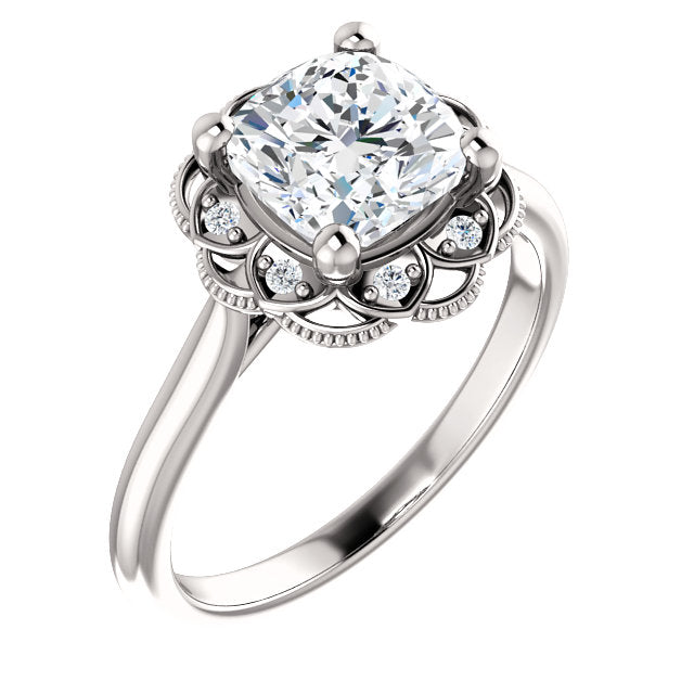 Cushion Diamond Antique Inspired Design Engagement Ring