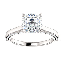 Cushion Solitaire & Hidden Diamond Band Engagement Ring - I Heart Moissanites