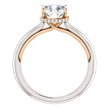 Cushion Solitaire & Hidden Halo Engagement Ring - I Heart Moissanites