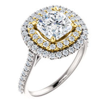 Cushion Double Halo Style Engagement Ring - I Heart Moissanites