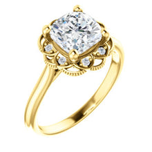 Cushion Antique Inspired Design Engagement Ring