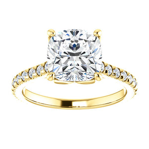 Cushion Claw Set Eternity Style Engagement Ring - I Heart Moissanites
