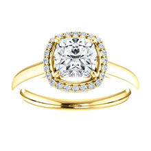 Cushion Halo Style Engagement Ring - I Heart Moissanites