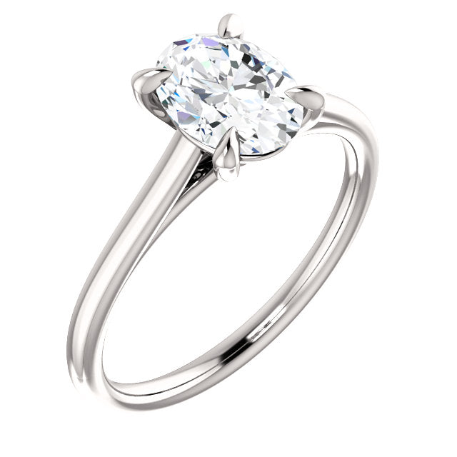 Four Claw Oval Solitaire Engagement Ring - I Heart Moissanites