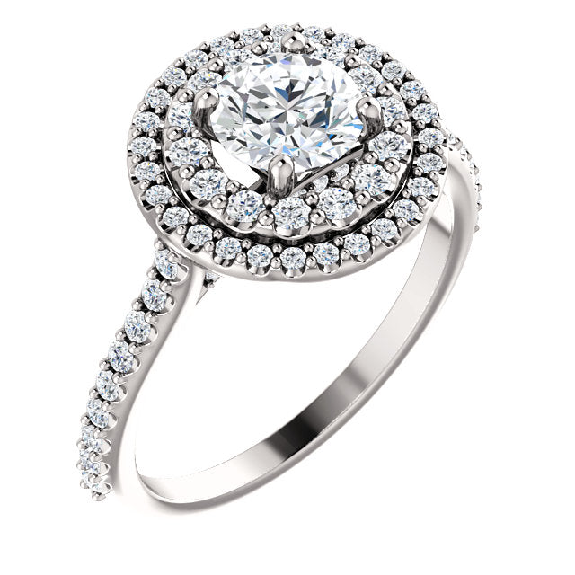 Round Brilliant Double Halo Style Engagement Ring - I Heart Moissanites