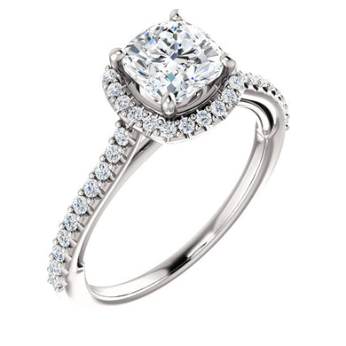 Cushion Halo & Heart Style Engagement Ring - I Heart Moissanites