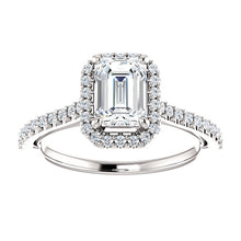 Emerald Halo & Heart Style Engagement Ring - I Heart Moissanites