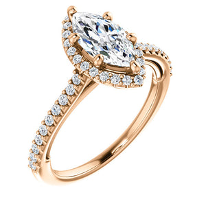 Marquise Halo & Heart Style Engagement Ring - I Heart Moissanites