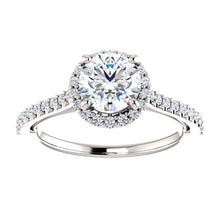 Round Halo & Heart Style Engagement Ring - I Heart Moissanites