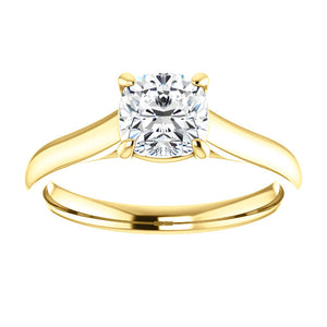 Four Claw Cushion Solitaire Engagement Ring - I Heart Moissanites