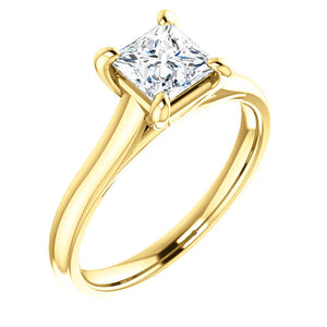 Four Claw Princess Solitaire Engagement Ring - I Heart Moissanites