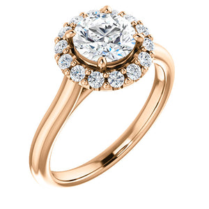 Round Halo Style Engagement Ring - I Heart Moissanites