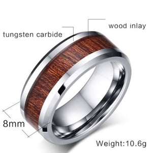 Tungsten Silver & Wood Men's Ring