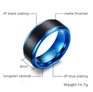 Tungsten Blue & Black Brushed Finish 8mm Men's Ring