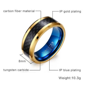 Tungsten Blue With Gold & Black Inlay 8mm Men's Ring