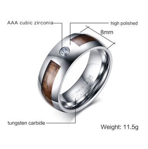Tungsten CZ & Wood Inlay 8mm Men's Ring