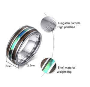 Tungsten Silver With Wood & Shell Inlay Polished 8mm Men's Ring