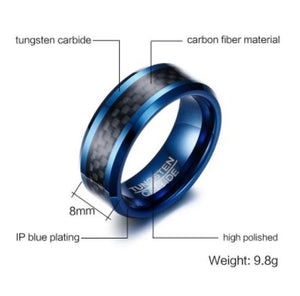 Tungsten Blue With Black Inlay 8mm Men's Ring