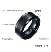 Tungsten Black With Black Inlay 8mm Men's Ring