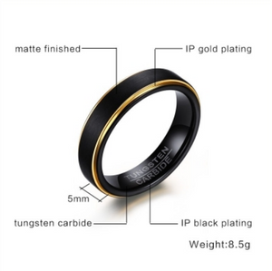 Tungsten Steel Polished Gold With Black Men's Ring - I Heart Moissanites