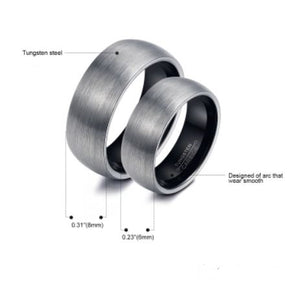 Tungsten Black & Silver Brushed Men's Ring