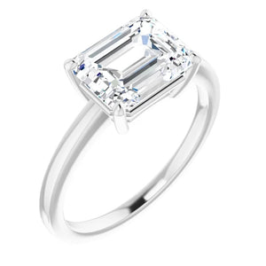 Emerald East West Solitaire Style Engagement Ring