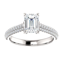 Emerald Pave Style Engagement Ring - I Heart Moissanites