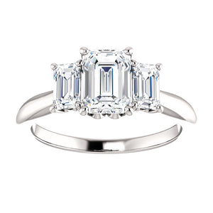 Emerald Tri -Stone Style Engagement Ring - I Heart Moissanites