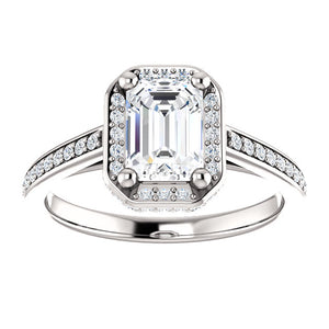 Emerald Halo Style Engagement Ring - I Heart Moissanites