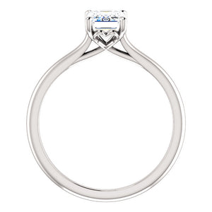 Four Claw Emerald Solitaire Engagement Ring - I Heart Moissanites