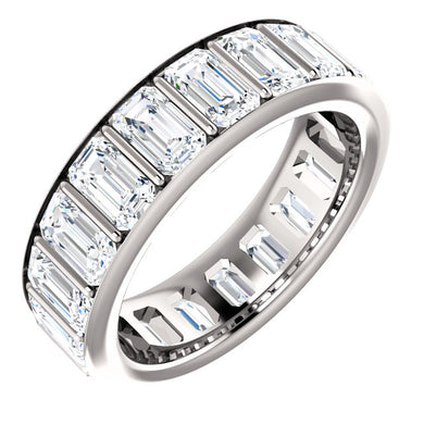 5.70ct Emerald Channel Set Moissanite Eternity Band - I Heart Moissanites