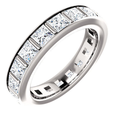 5.40ct Princess Channel Set Moissanite Eternity Band - I Heart Moissanites