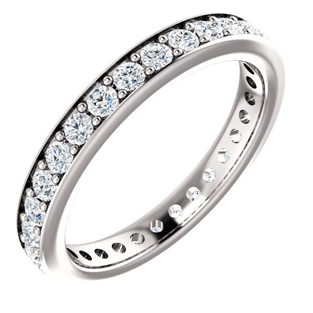 0.90ct Round Brilliant Channel Set Moissanite Eternity Band - I Heart Moissanites