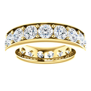 5.10ct Round Brilliant Channel Set Moissanite Eternity Band - I Heart Moissanites