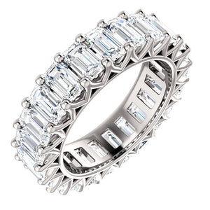 6.90ct Emerald Moissanite Eternity Band - I Heart Moissanites