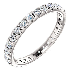Round Brilliant French Set Moissanite Eternity Band - I Heart Moissanites